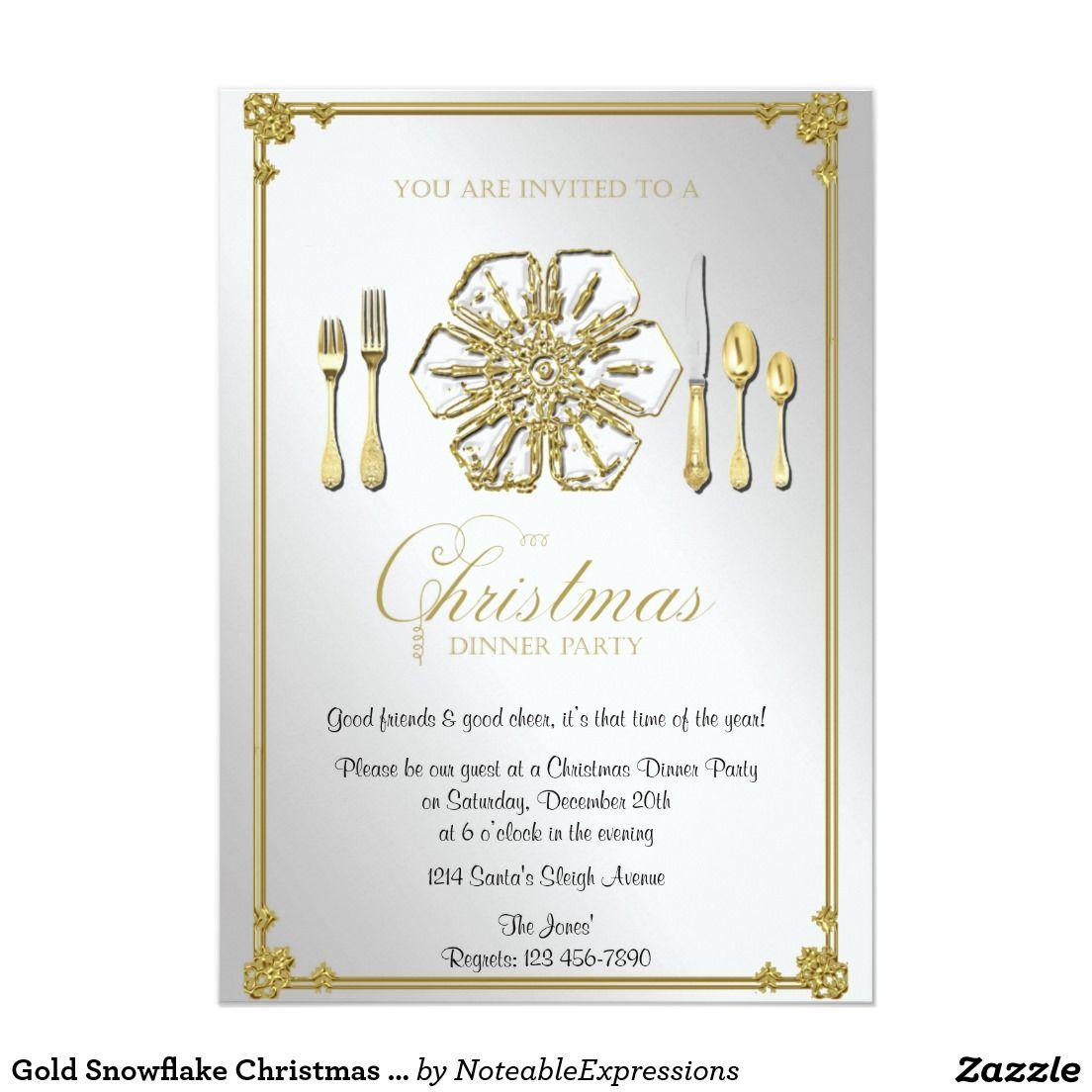 Golden Snow Santa Sleigh Christmas Party Invitations