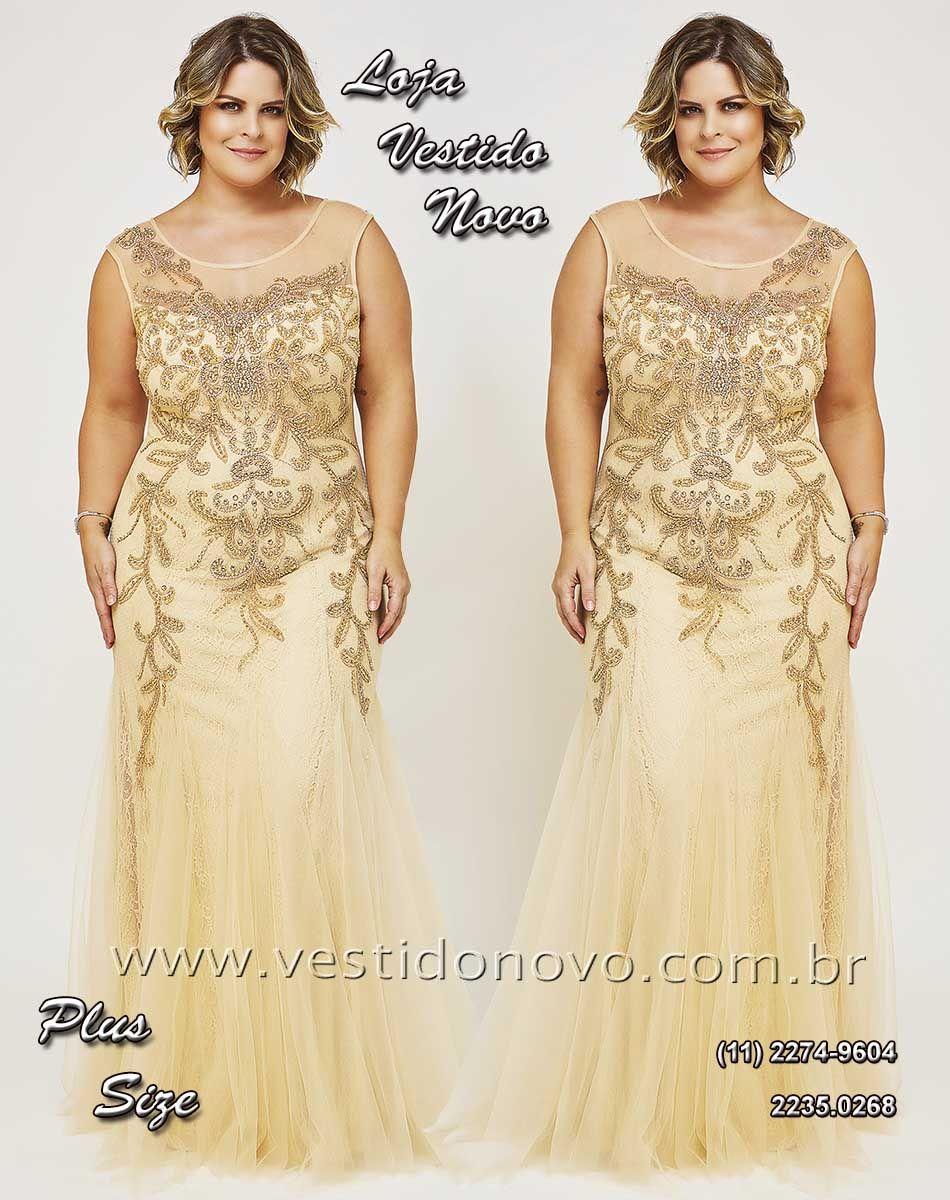 b62599829b Vestido Plus size mãe do noivo nude com dourado