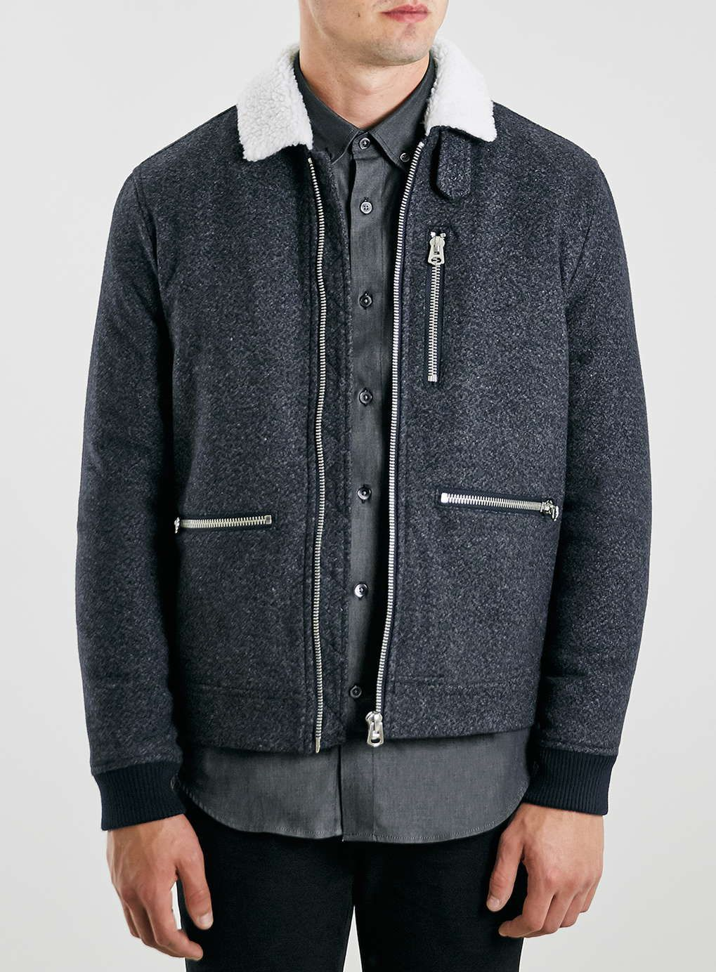 Blue Wool Blend Flight Jacket with Borg Collar | Products, Wool ...