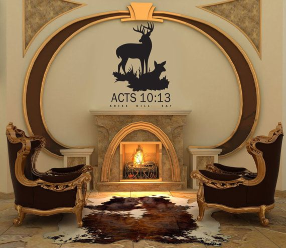 DEER HUNTING Decal Acts 10:13 Arise Kill Eat Wall Decal By JobstCo. Bull  SkullsVinyl DecorHome Office ...