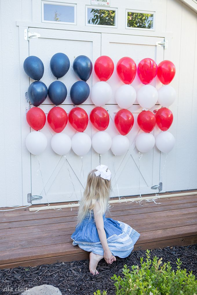 Patriotic Balloon Flag | 4th of july party, Fourth of july, July party
