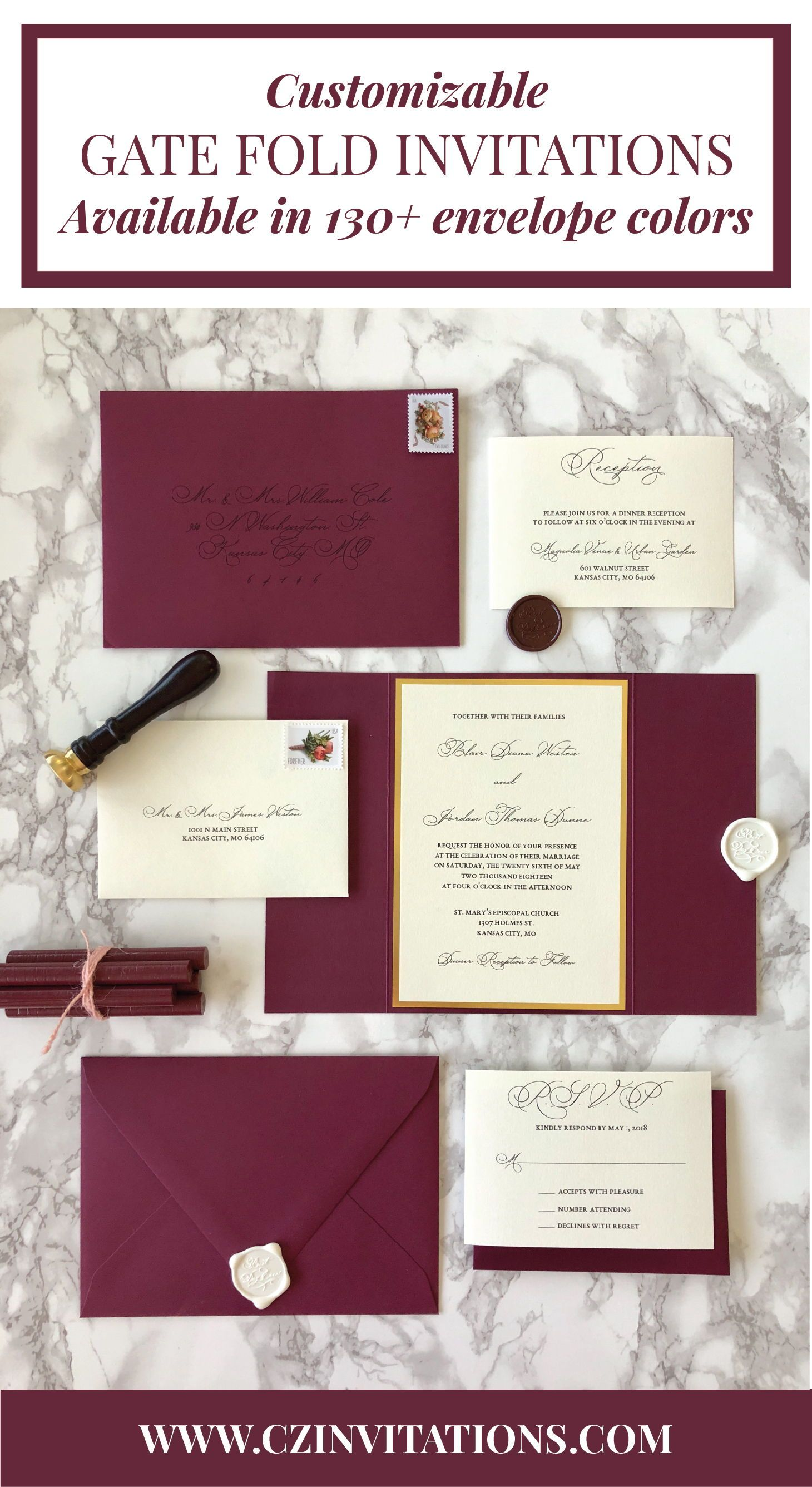 gate fold invitations are trendy and classic we love this burgundy
