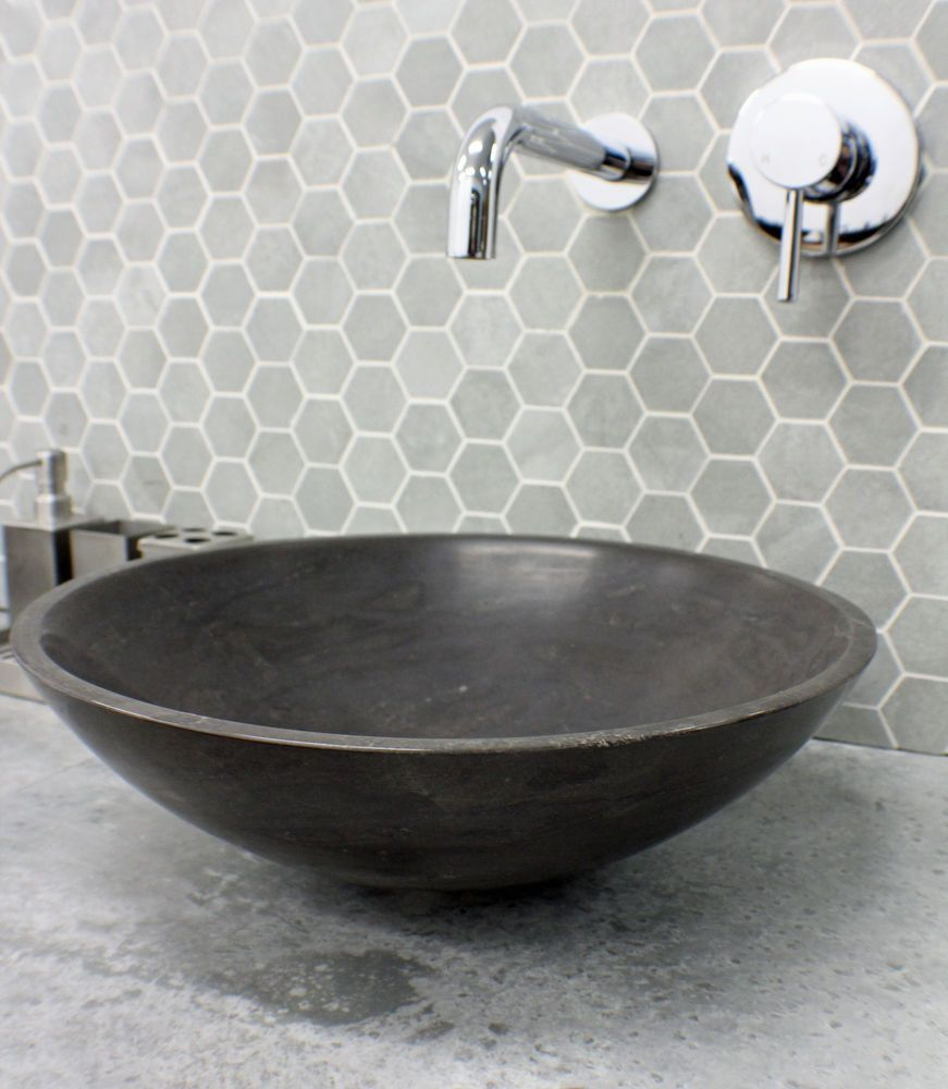 280 Stone Grey Charcoal Black Marble Round Bowl Counter Top Basin