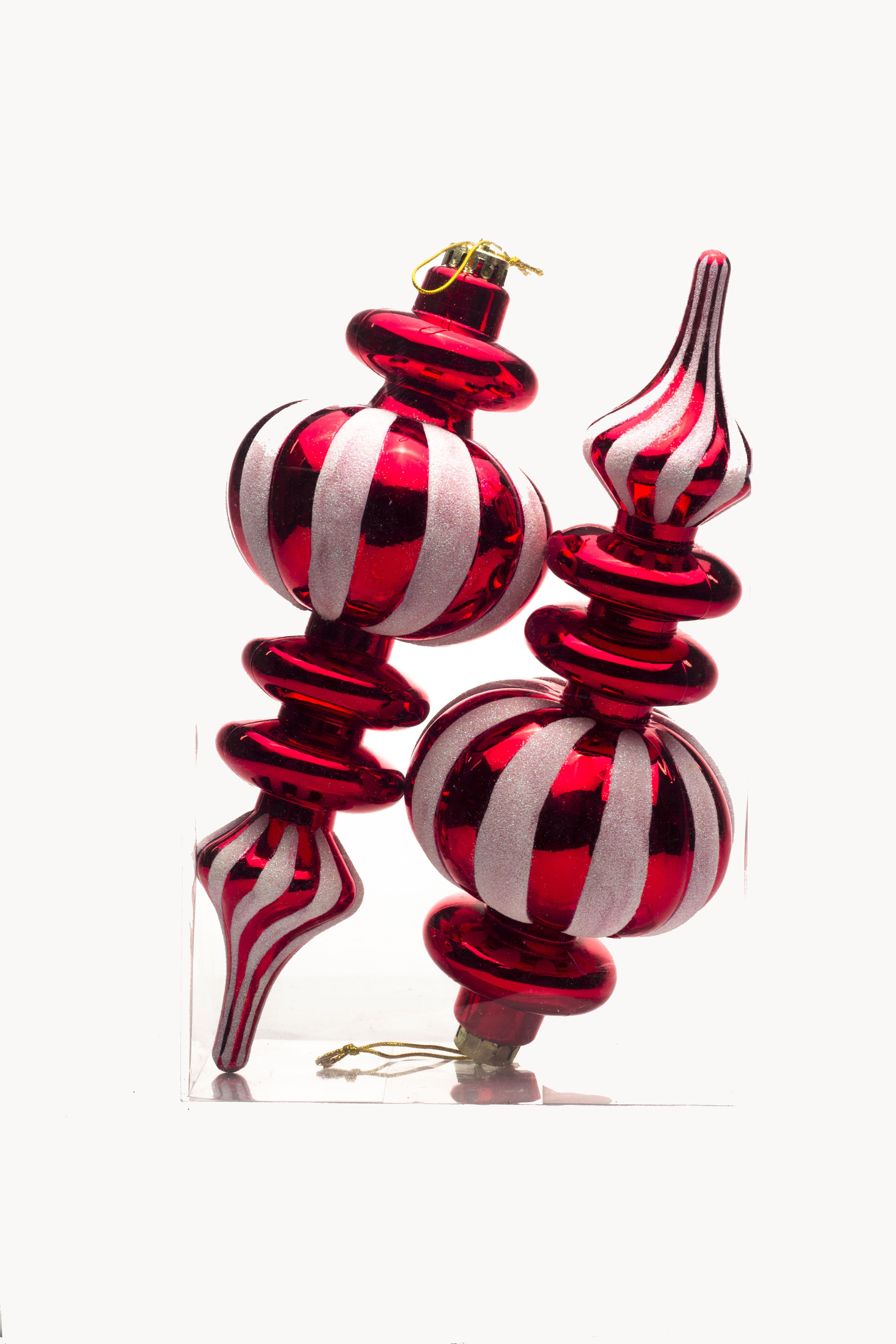 2pk Red Finial Ornament With White Glittered Stripes With Images Red Christmas Ornaments Candy Ornaments Christmas Ornaments