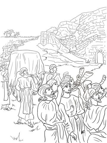 joshua and the fall of jericho coloring page