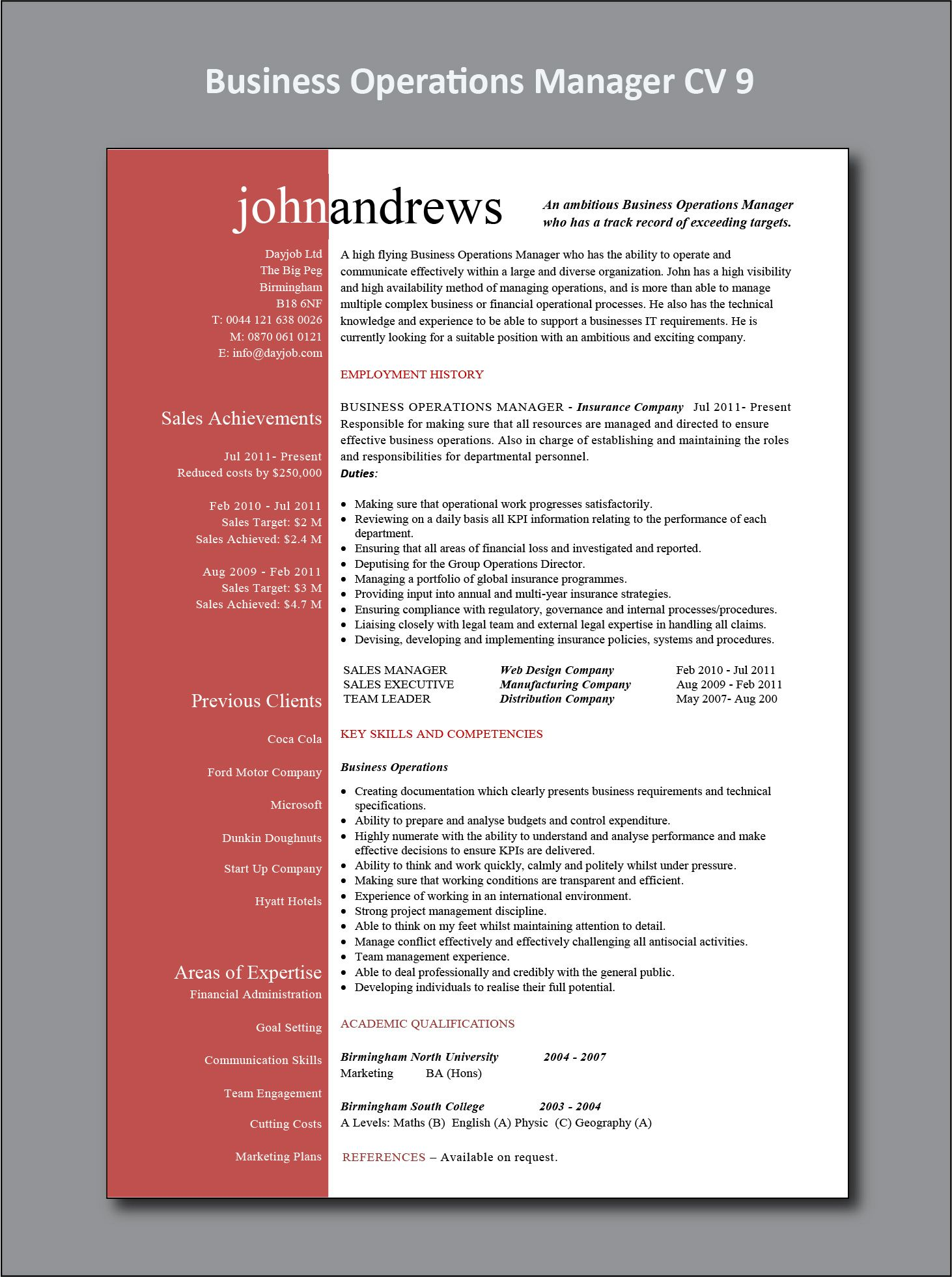 Business Operations Manager Cv 9 Example Operations Management