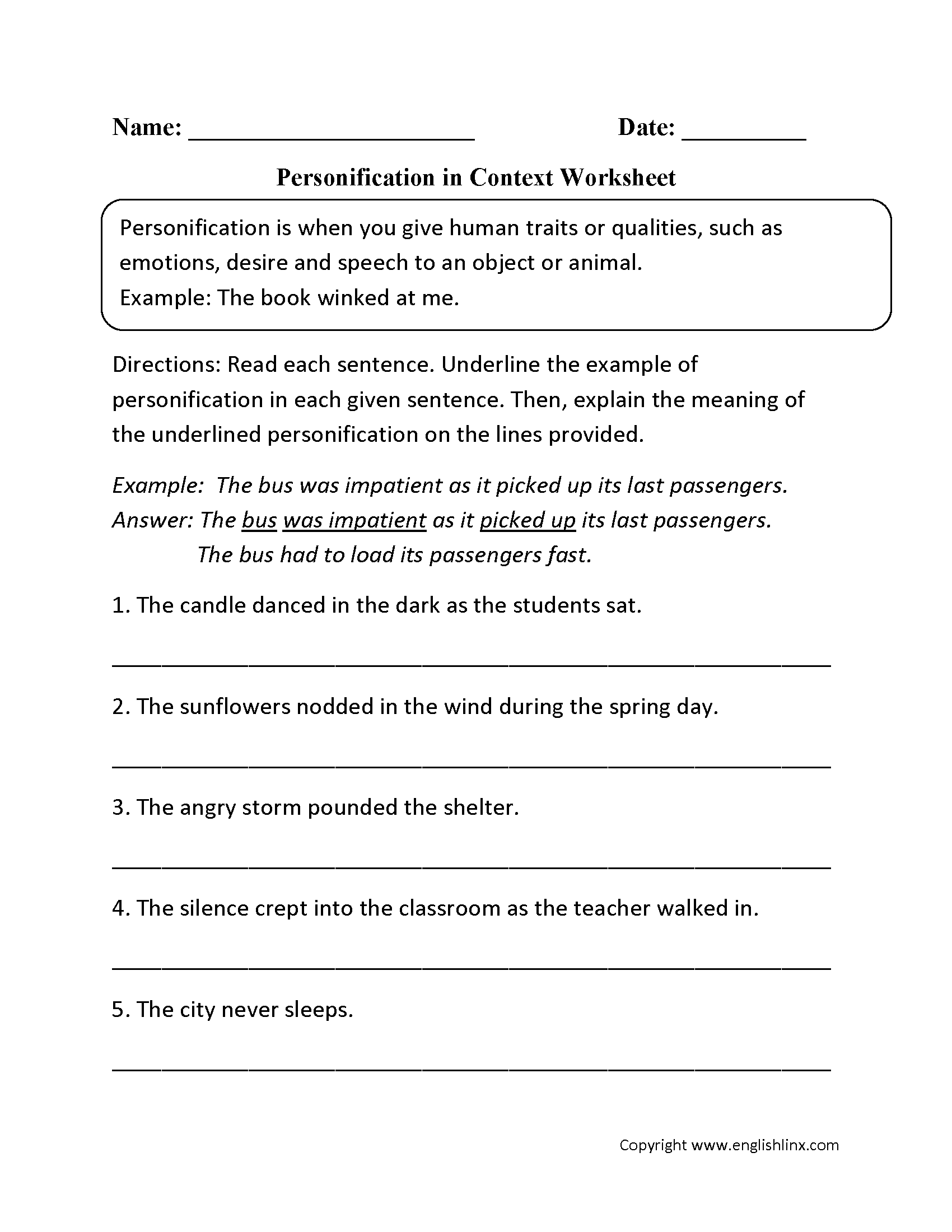 Personification In Context Worksheet