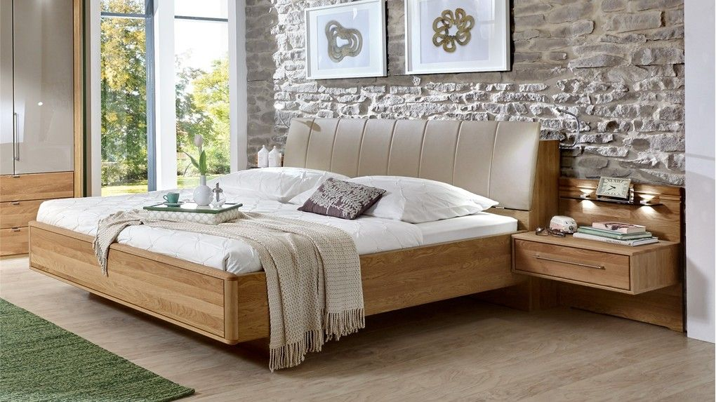 Stylform Selene - Semi Solid Oak   faux leather Modern bed Solid - dream massivholzbett ign design