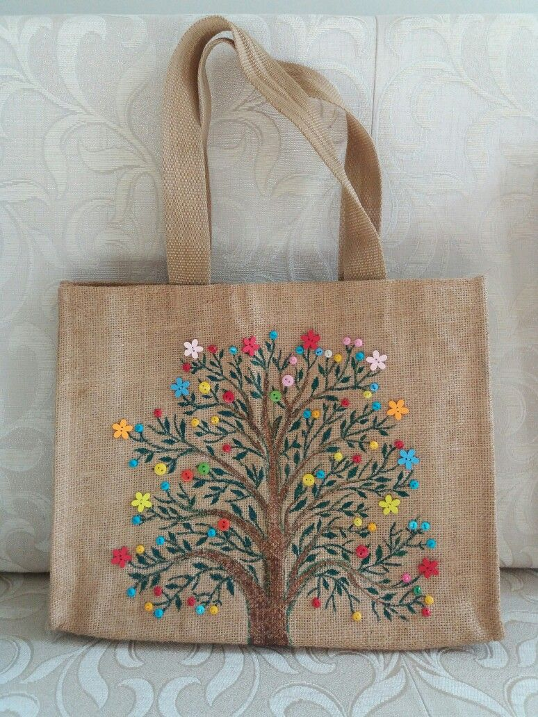Button Art Inspired By Pinterest Painted Canvas Bags Gift Tote Bags Fabric Painting