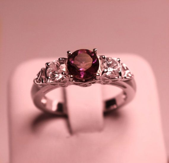 Celtic Purple Natural Amethyst Ring Sterling by PlatinumClassics