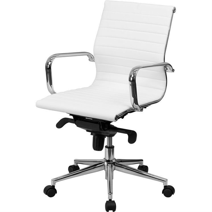 Classic Desk Chairs white faux leather office chair mid-back modern classic | office