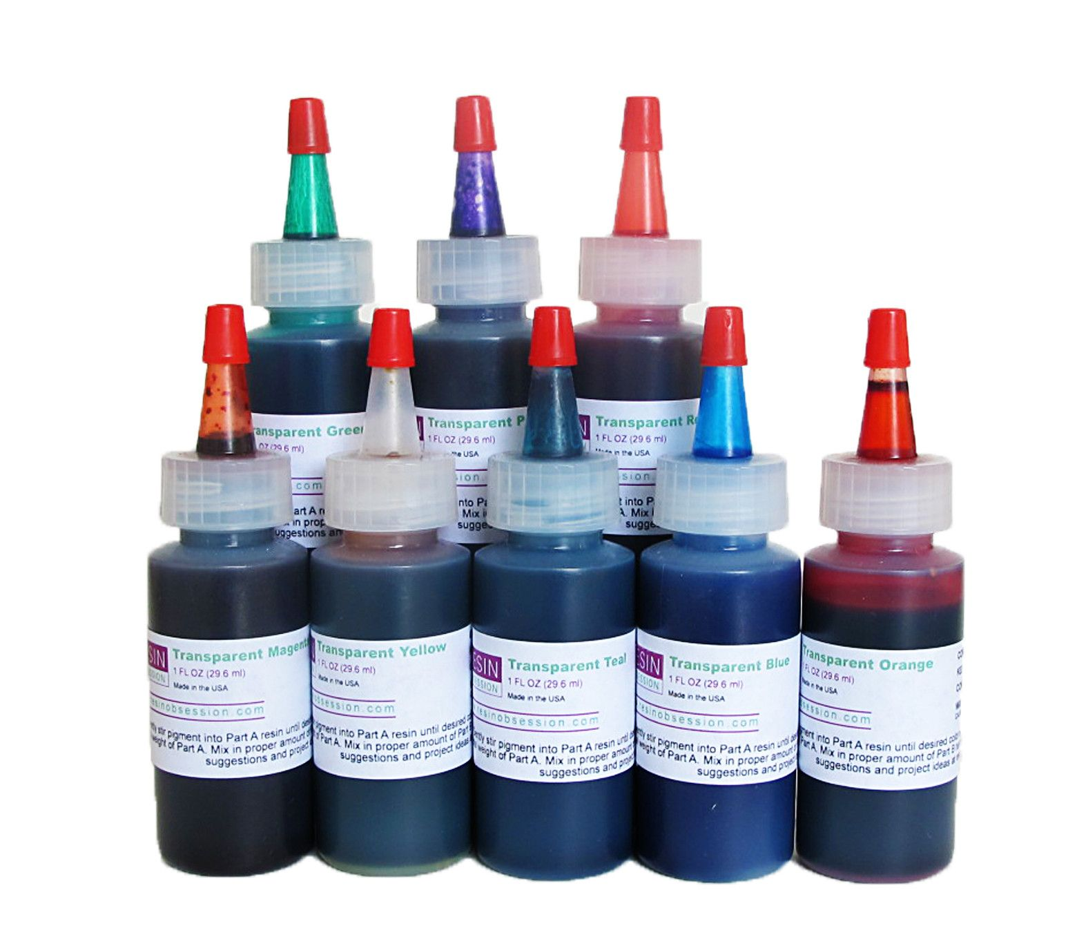 Transparent color pigments - complete set of eight colors | Resin ...