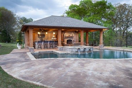 Outdoor kitchen designs with roofs pool cabana backyard for Garden cabana designs