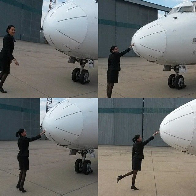Best way to end the weekend , with an awesome flight ♡ #FoolingAround #ForTheLoveOfAviation #ForControl #Aircraft #AircraftNose #Poke #FlightAttendant #CabinCrew #MessingAround #ActingCute