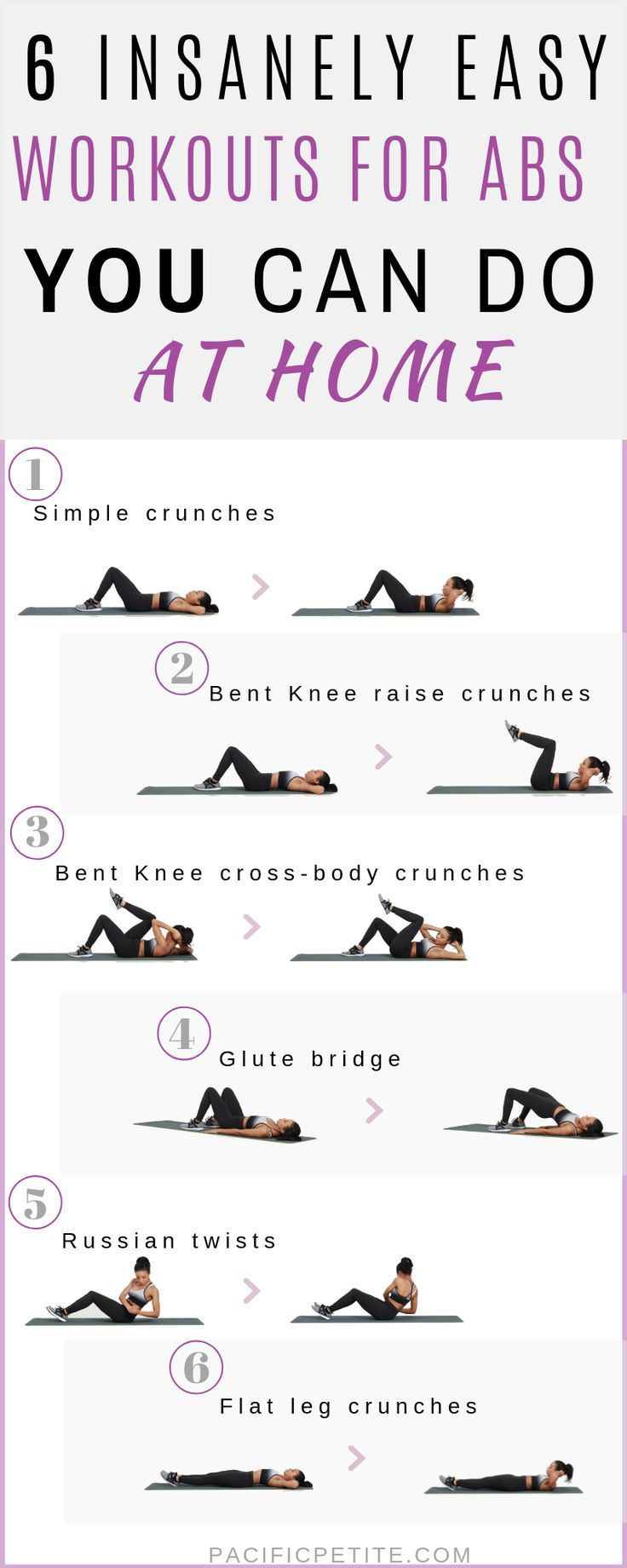 Easy at home workouts for abs you can do without going to the gym. Build muscle and tone in the core...