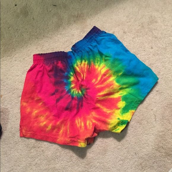 NWT rainbow soffe shorts I bought this from a tie dye website, I did not tie dye them my self. Never worn! Perfect condition super cute and vibrant  Soffe brand! Adult small, but could fit a medium or large depending on how you like the fit! Soffe Shorts