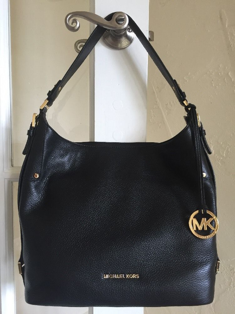 a67c8e76d1ab Michael Kors Bedford Belted Large Leather Shoulder Bag Black Gold Hardware  | eBay