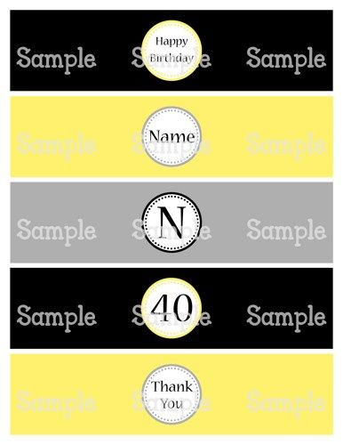 Printable MM Classy Black Yellow Gray Water Bottle Label Wrappers