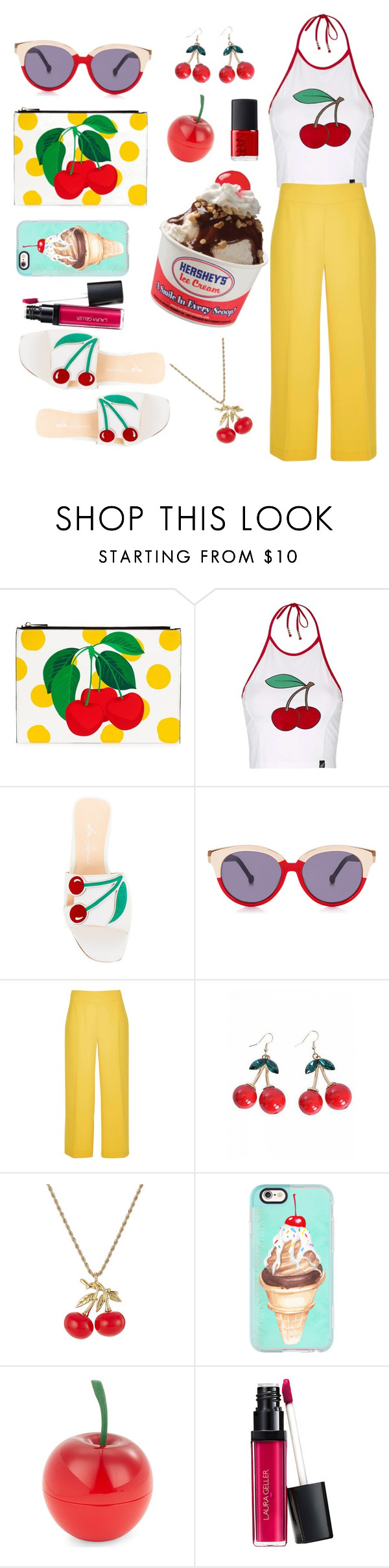 """sweet línea a cherry"" by lisa-gache ❤ liked on Polyvore featuring Topshop, Isa Tapia, Preen, River Island, Kenneth Jay Lane, Casetify, Tony Moly and NARS Cosmetics"