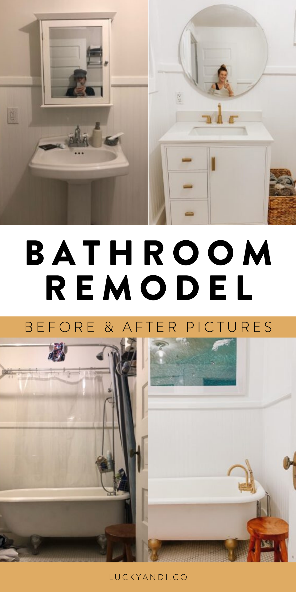 before & after: downstairs bathroom with clawfoot tub — Lucky Andi