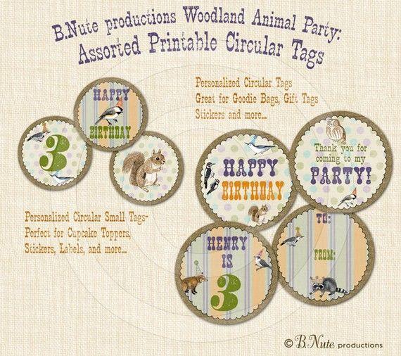 Deer Fox Squirrel, Friends Owl PRINTABLE DIGITAL CUSTOM Woodland Birthday Pennant and Circle Banner Printable Creatures Animals