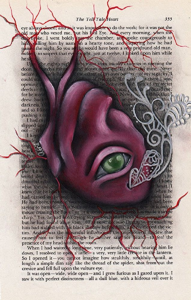 Edgar Allan Poe Art Quote Hideous Heart Tell Tale Heart