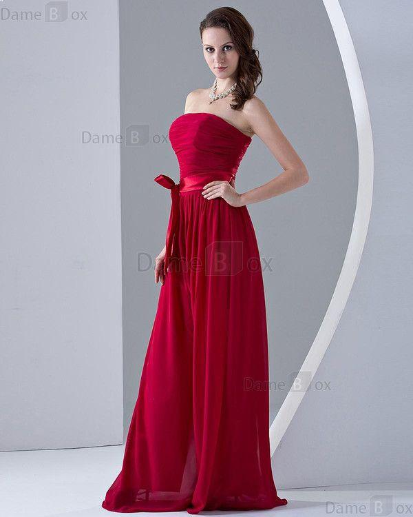 Etui trägerloser Ausschnitt prächtiges Brautjungfernkleid ohne Ärmeln mit Gürtel - Damebox.com