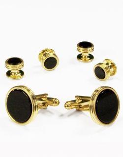 Black Circular Onyx Circular Gold Trim Studs and Cufflinks Set