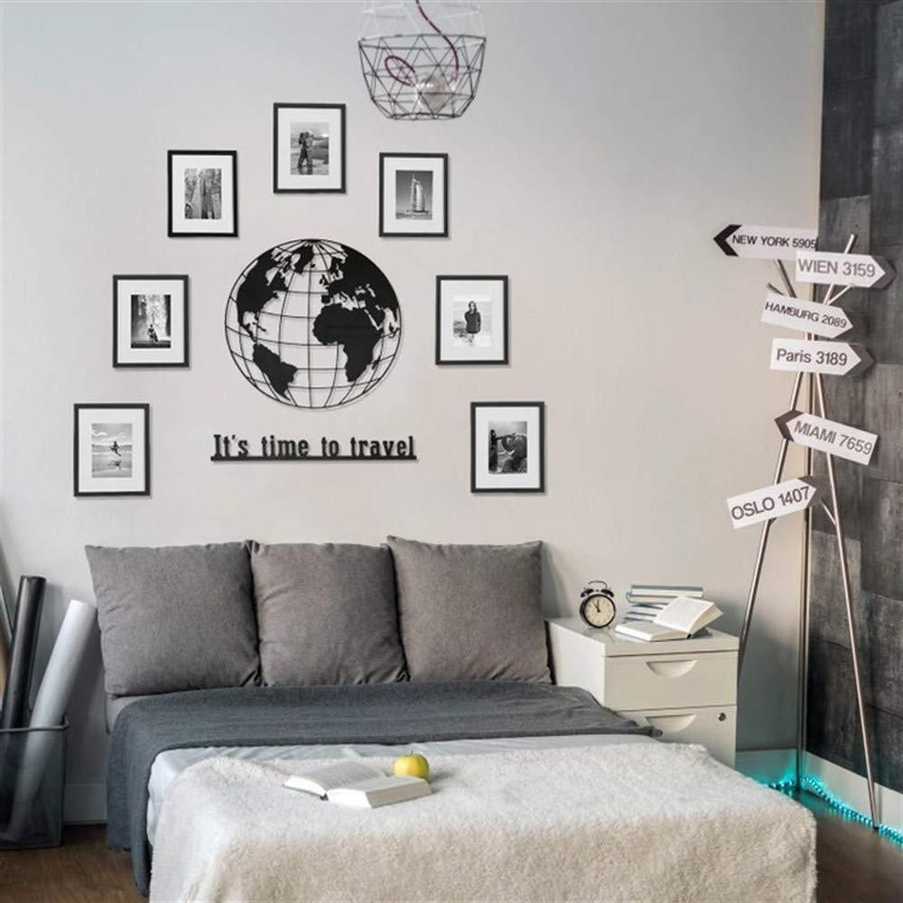 Metal World Map Wall Art Works Wall Decor Home Living Room Decoration Round Decor Home Living Room Home Living Room Living Room Decor #wall #accessories #living #room