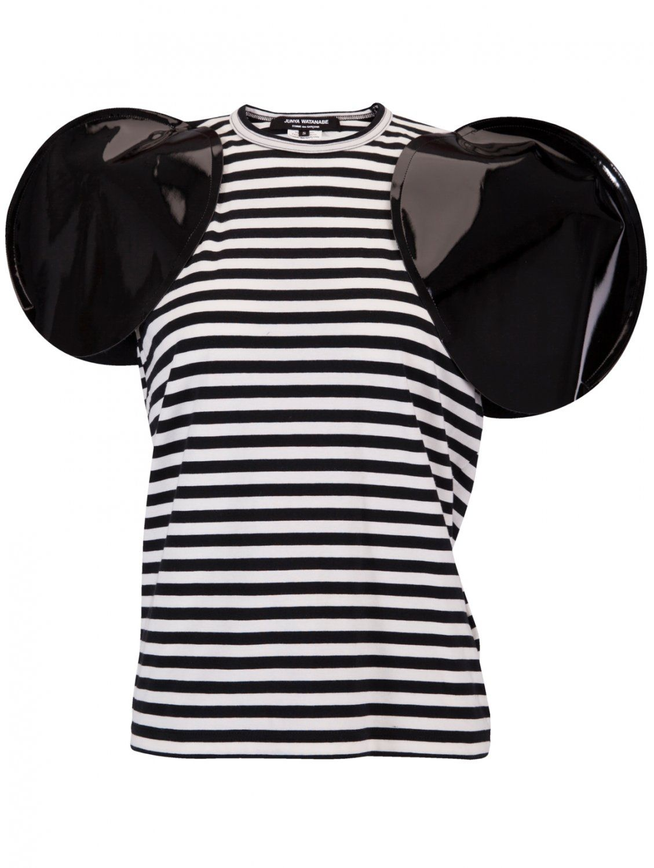 Junya Watanabe | Patent Circular Sleeve Stripe T-Shirt Black/White | Hervia.com