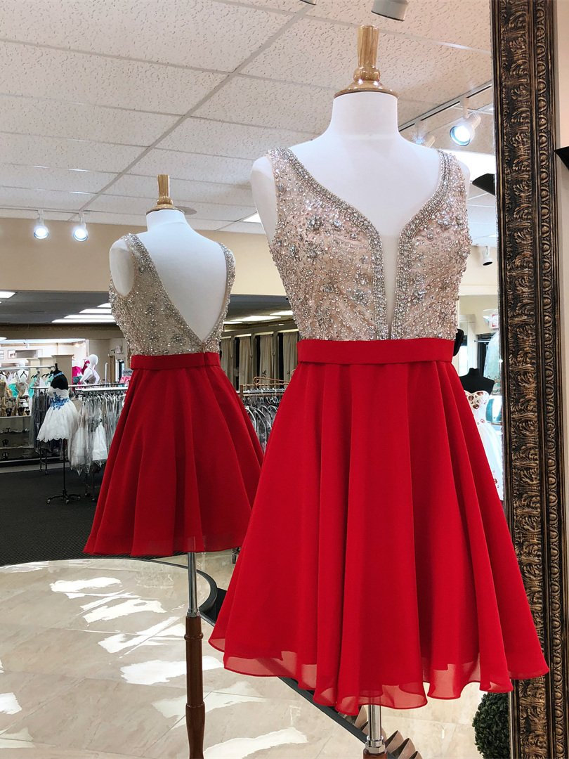 Red chiffon beaded homecoming dresses v neck backless short prom