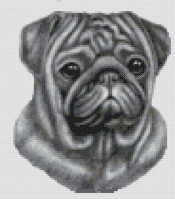 This pattern is of a black Pug head and uses 19 colours. The pattern ...