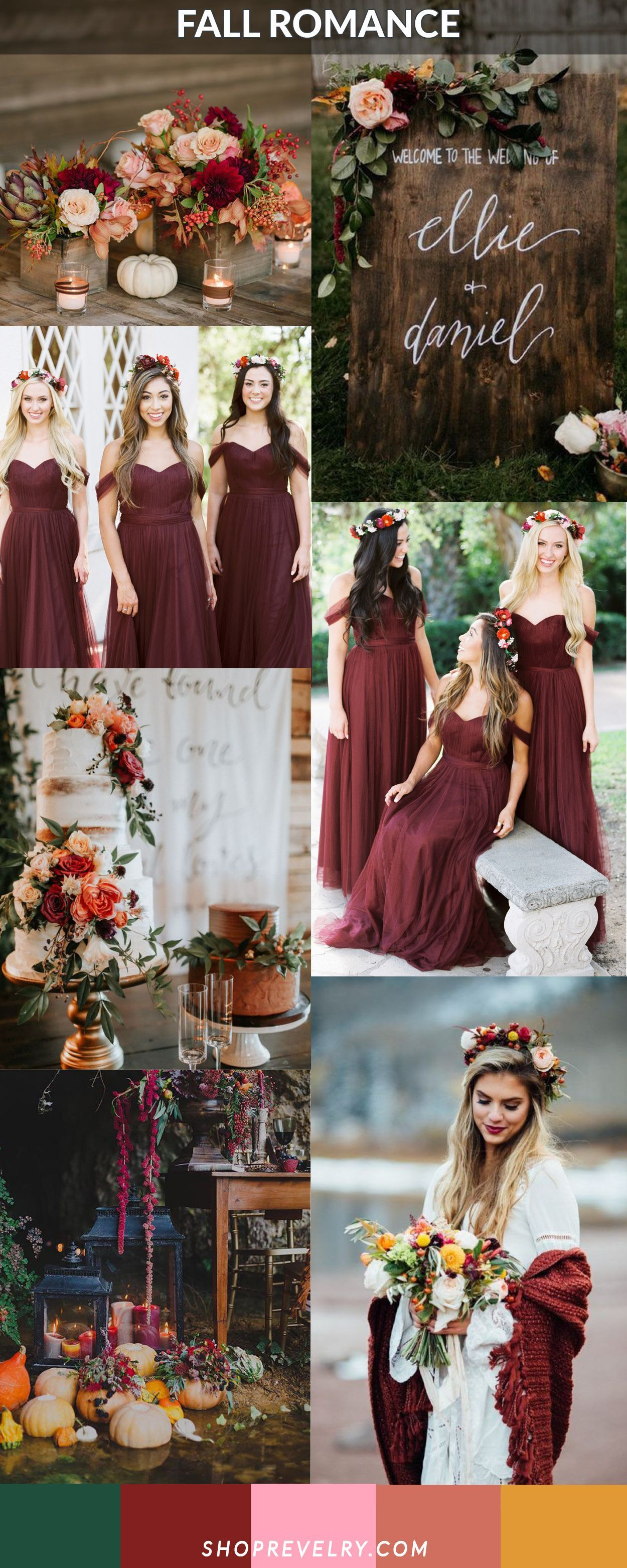 Fall romance cabernet muted peach forest green and mustard color