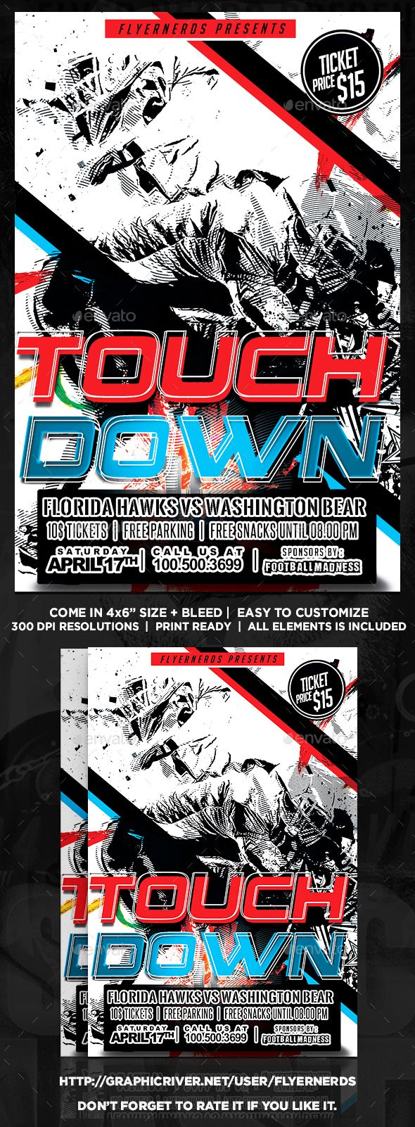 Touchdown Football Sports Flyer Flyer Template Fonts And Event Flyers