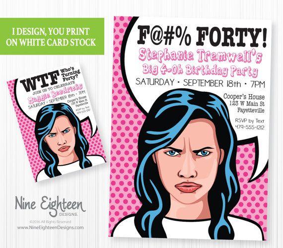 Funny 40th Birthday Party Invitation Pop By NineEighteenBirthday