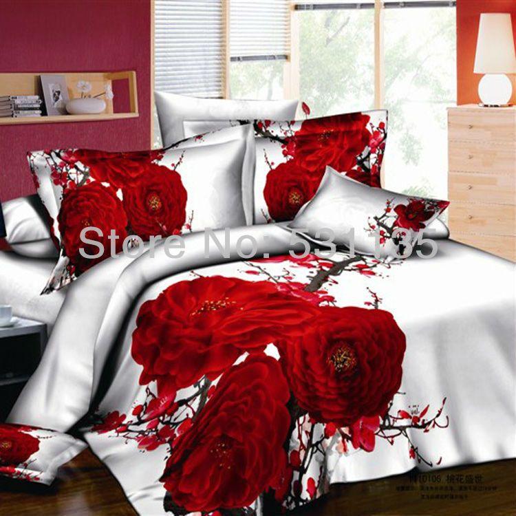 Red Flower 3d Printed 4pcs Bedding Set White Bedsheet Bedlinen Duvet Quilt Cover Sets 100 Cotton Bedcover For Queen S White Bed Set Bedding Sets Luxury Bedding