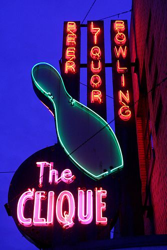 The Clique Bowling Alley Neon Sign Img 7496 Neon Signs Vintage Neon Signs Neon