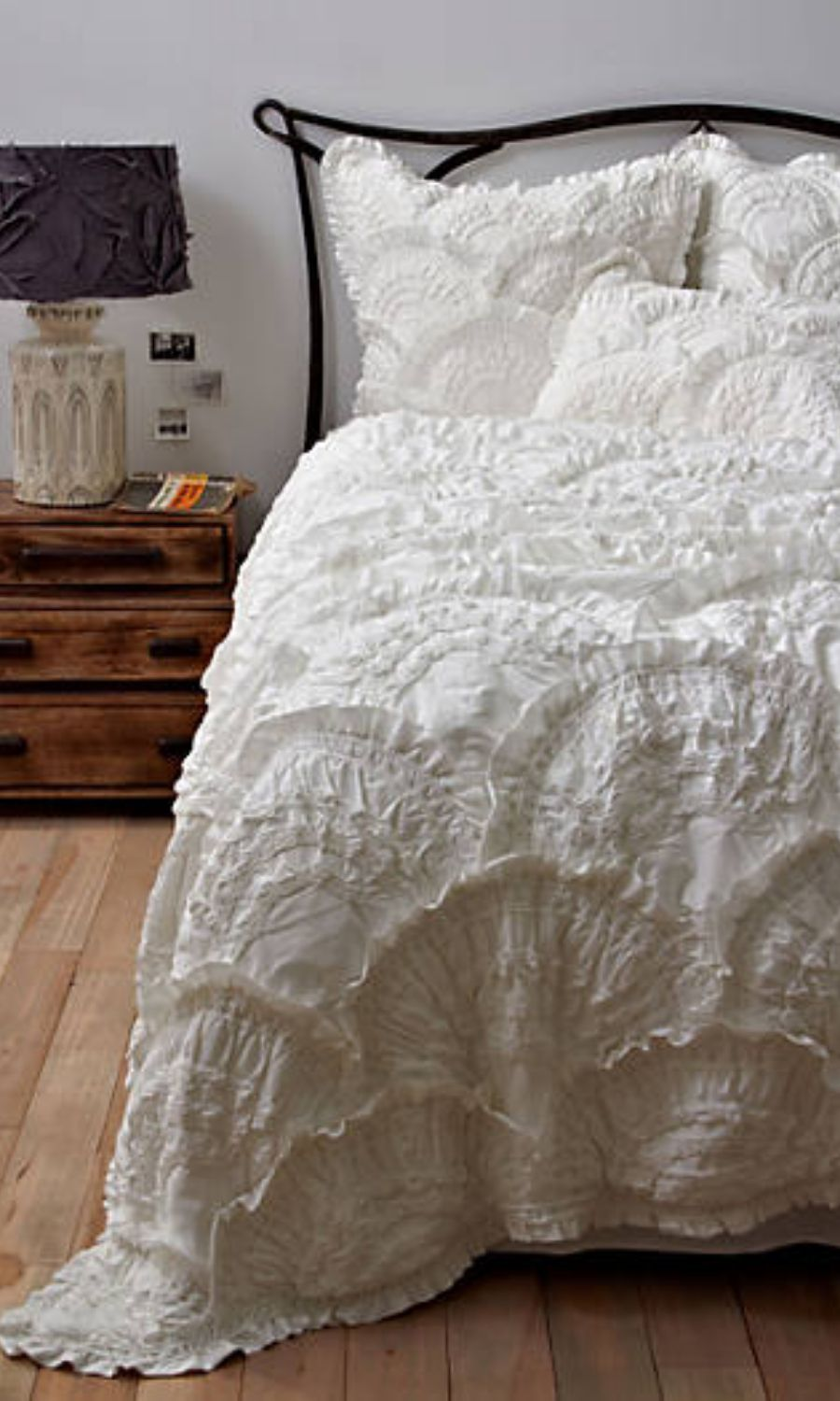 Classic white bedding so beautiful Anthropologie Rivulets Quilt Bedding  #bedding #bedroom #bedroomdesign #ad