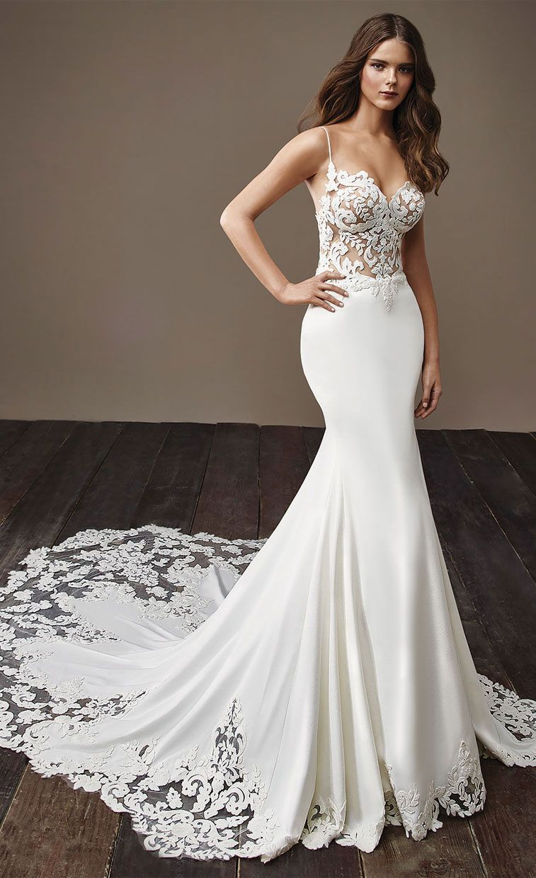 Spaghetti strap mermaid wedding dress  Badgley Mischka Wedding Dress   Illusions Neckline and Mermaid