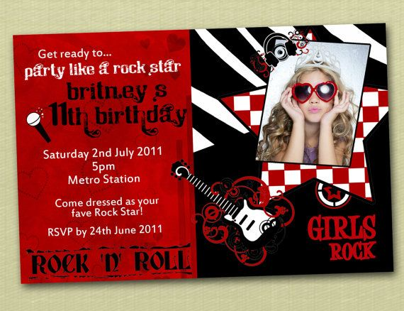 Rock and Roll Birthday Invitations You Print – Rock and Roll Party Invitations