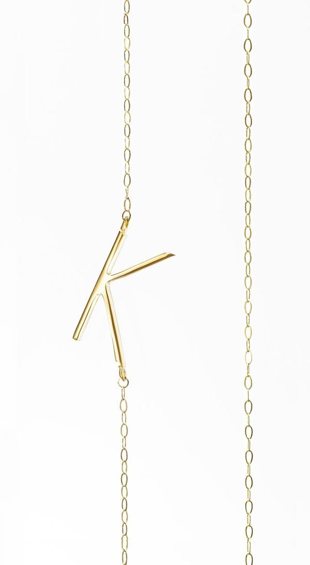 Albeit Jewelry K initial necklace in white gold, please. Thanks :)