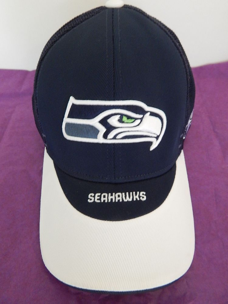5c8529461fd Seattle Seahawks Stretch Cap Hat Adult Blue White Reebok Sideline NFL New  NWOT  Reebok  SeattleSeahawks