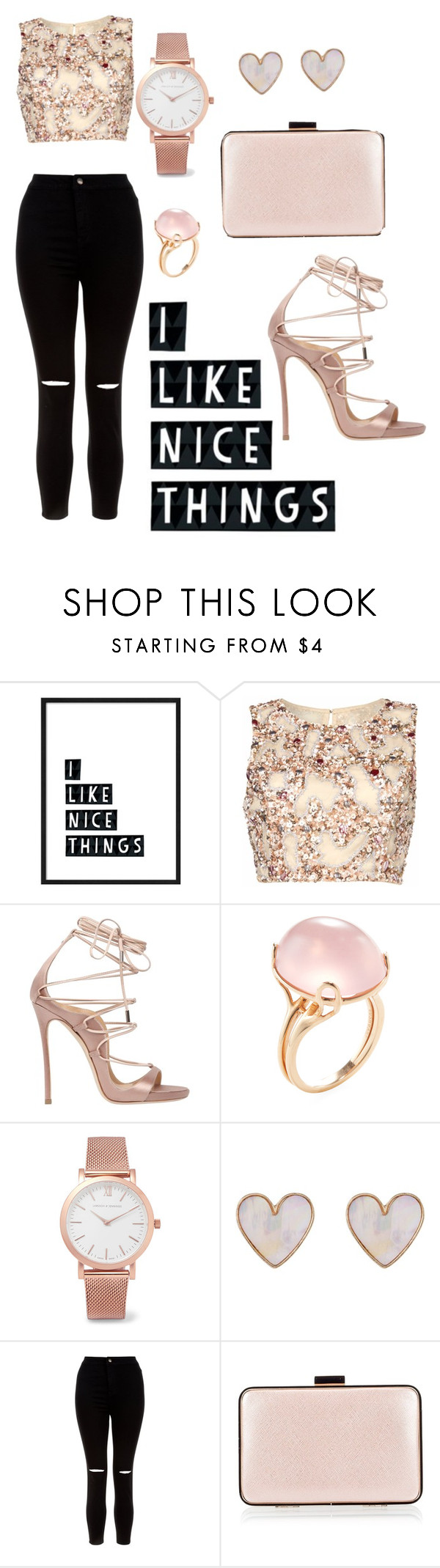"""""""A Little Bit Fancy"""" by chocolateimani ❤ liked on Polyvore featuring Raishma, Dsquared2, Goshwara, Larsson & Jennings, New Look and Coccinelle"""