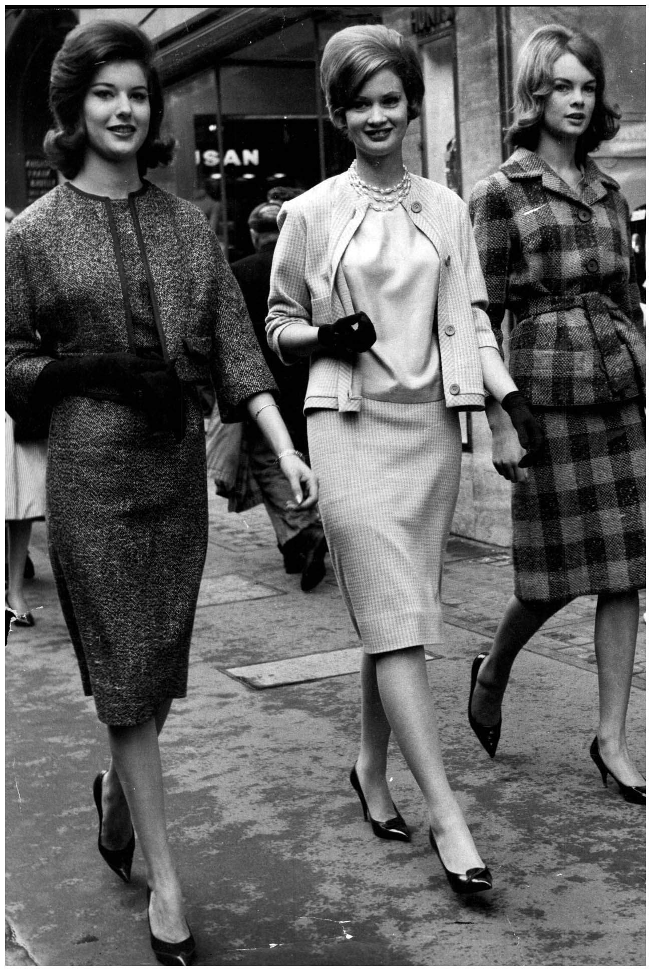 1960 - As a graduate of Lucie Clayton's modelling school, Jean - on the  right - was photographed with fellow pupils