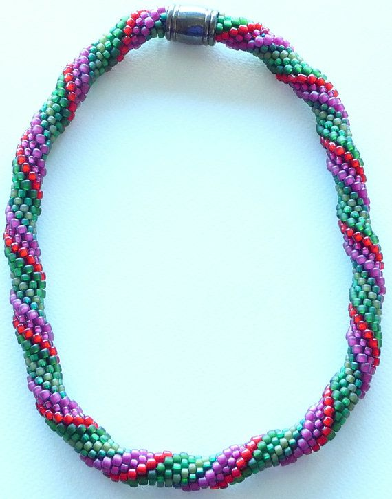 Bead crochet necklace Is It Christmas Yet by Romancingtheneck, $150.00