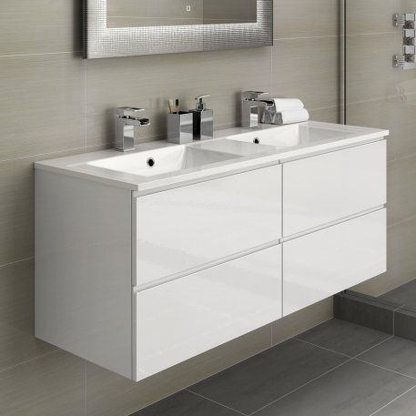 1200mm Trevia High Gloss White Double Basin Cabinet Wall Hung Bathroom Vanity Units Double Vanity Bathroom Bathroom Furniture Storage