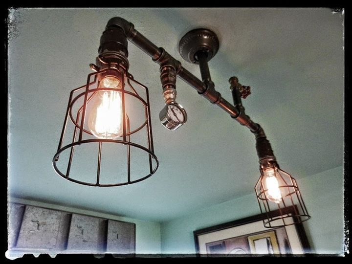 Incredible ceiling mounted light fixture created using industrial ...