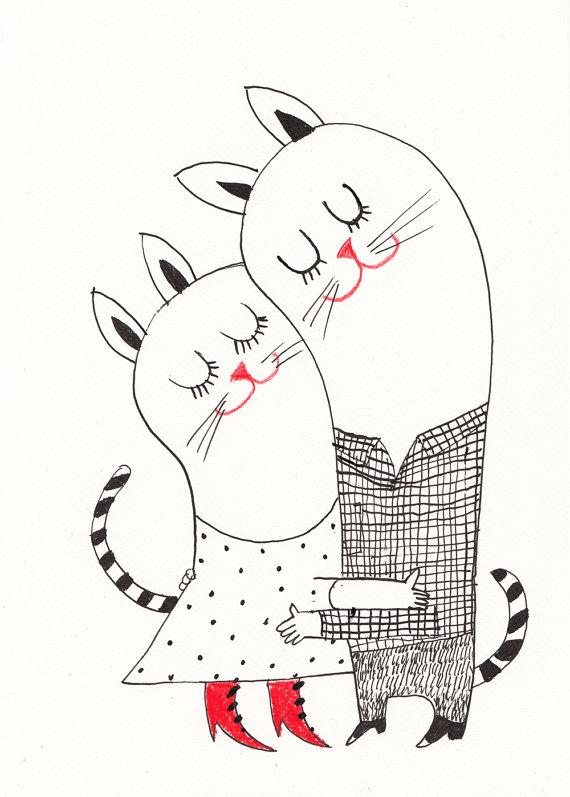 Hugs and Kisses / ORIGINAL ILLUSTRATION / ink drawing