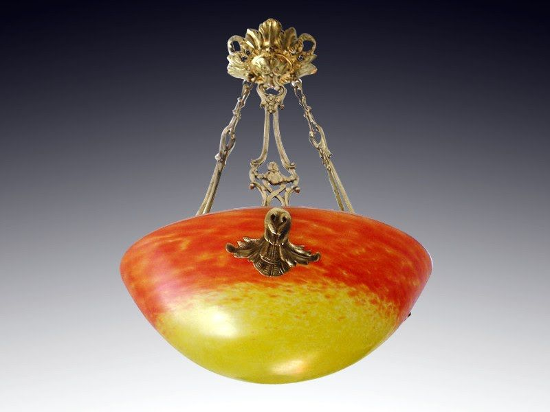 French Art Deco Chandelier Pendant by MULLER FRERES Croismare 1920s - http://www.artdecoceramicglasslight.com/makers/muller-freres/ref-08504---french-art-deco-chandelier-pendant-by-muller-freres-croismare-1920s