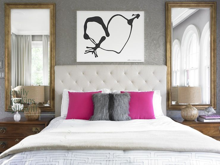 Good Emily Followill Photography   Bedrooms   Gray Wallpaper, Damask Wallpaper,  Gray Damask Wallpaper, Heart Art Print, Off White Headboard, Off White  Tufted ...